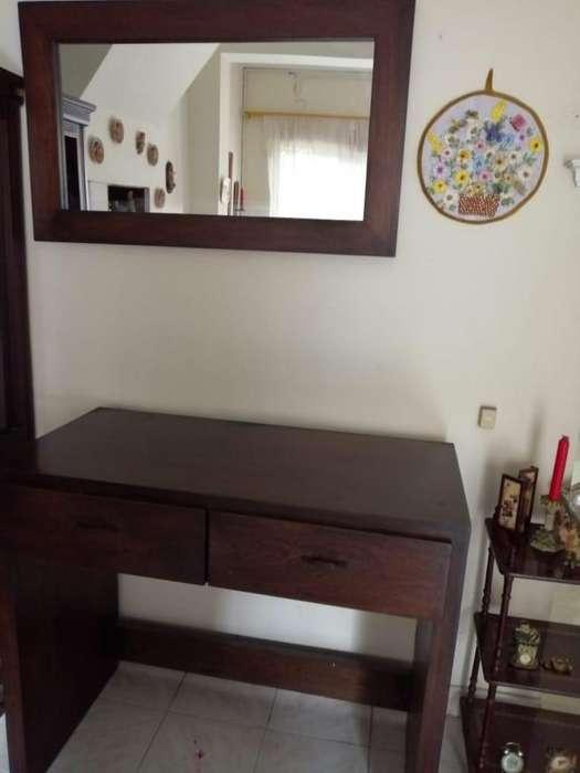 Se vende mueble en madera con espejo