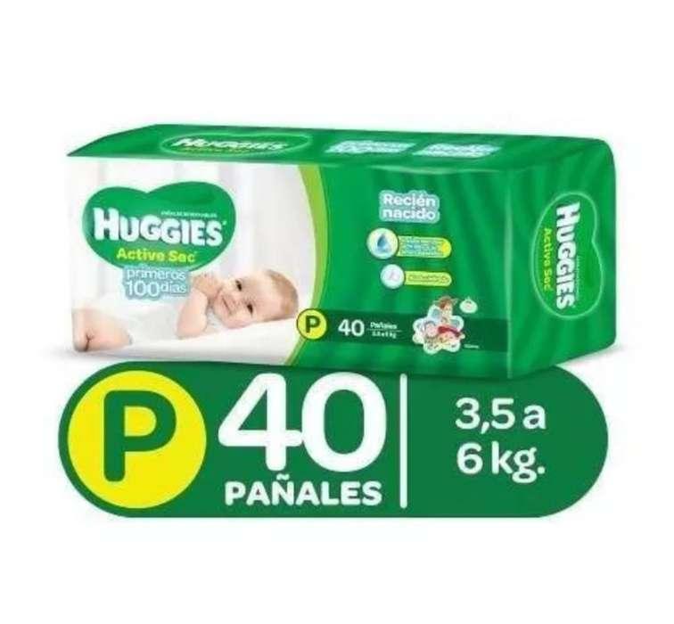 Pañales Huggies Active Sec. P X 40 U.