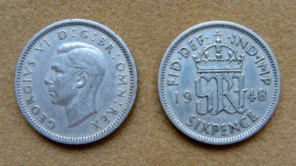 Moneda de 6 peniques Gran Bretaña 1948