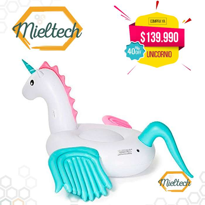inflable gigante unicornio 2.4 metros flotador para playa piscinas pool party