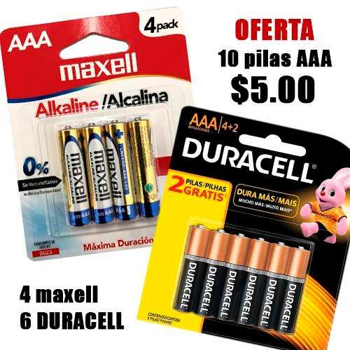 10 Pilas Duracell y Maxell