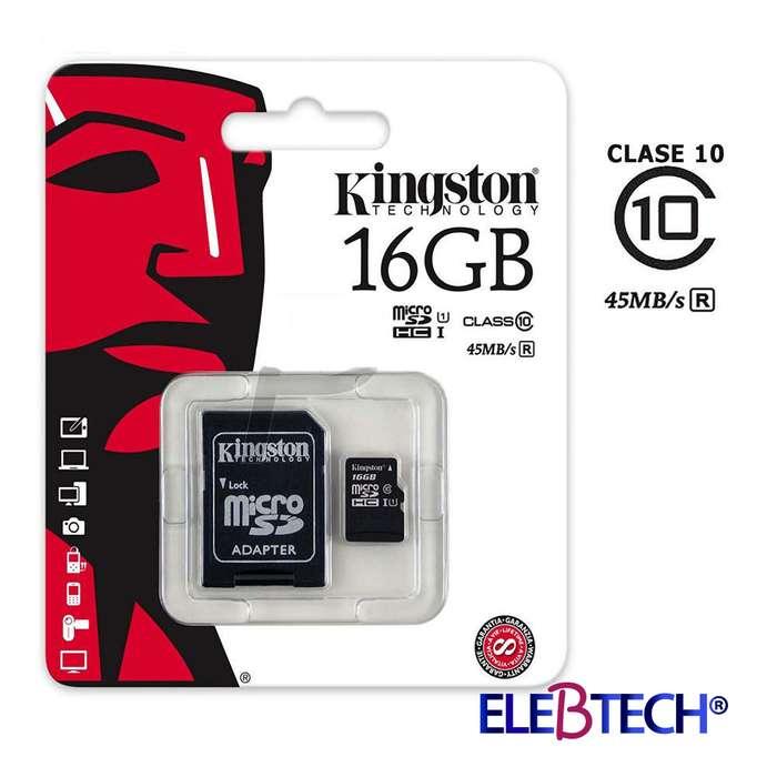 MEMORIA MICRO SD 16GB KINGSTON/CLASS 10 CON GARANTÍA