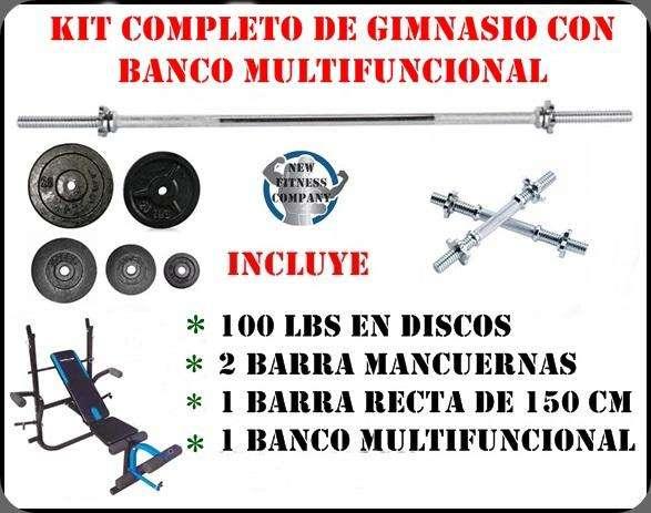 BANCO MULTIFUNCIONAL MAS KIT DE PESAS MAS OBSEQUIO !!!TOTALMENTE NUEVO!!!!!!