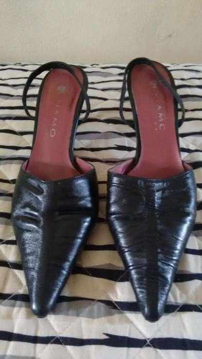 Zapatos Dama Cuero Negro Fiesta