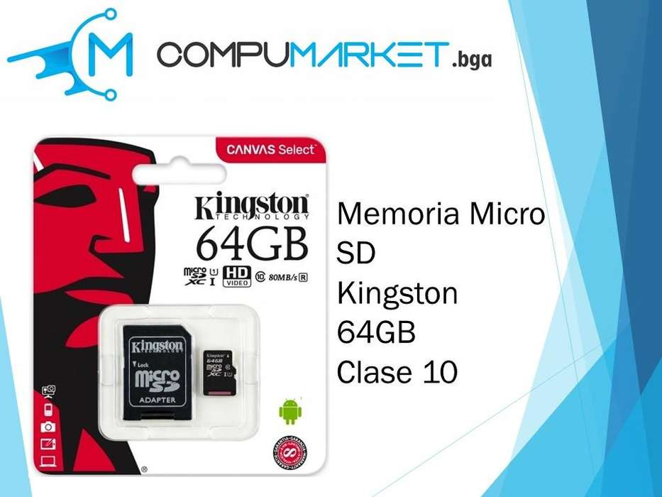 Memoria micro sd kingston 64gb clase 10 nuevo y facturado