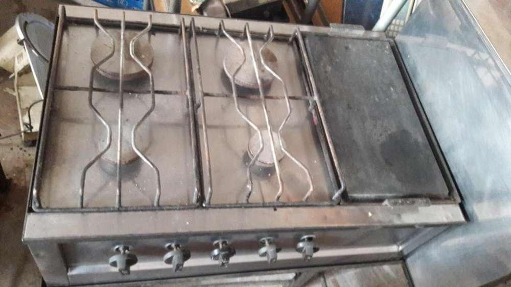 Anafe Industrial De 4 Hornallas Y Plancha Con Base !!