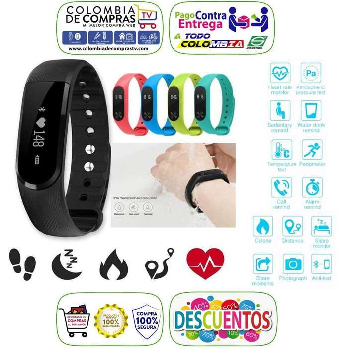 Brazalete Pulsera Reloj Inteligente <strong>bluetooth</strong>, Monitor Cardiaco, Smart Watch, Colors, Nuevas, Garantizadas...