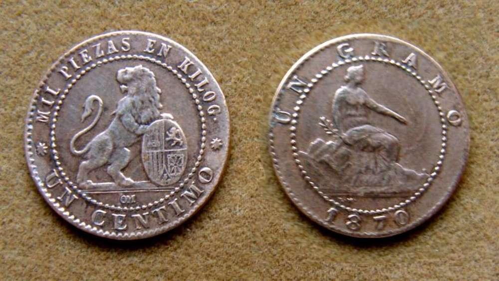 Moneda de 1 céntimo, España 1870