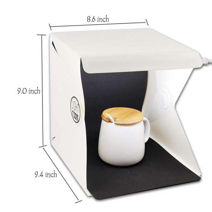 Caja de luz para fotografía portátil 25cm x 25cm con dos fondos