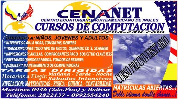 CENA..CURSOS DE INGLES Y NEVELACION PARA NIÑOS, JOVENES