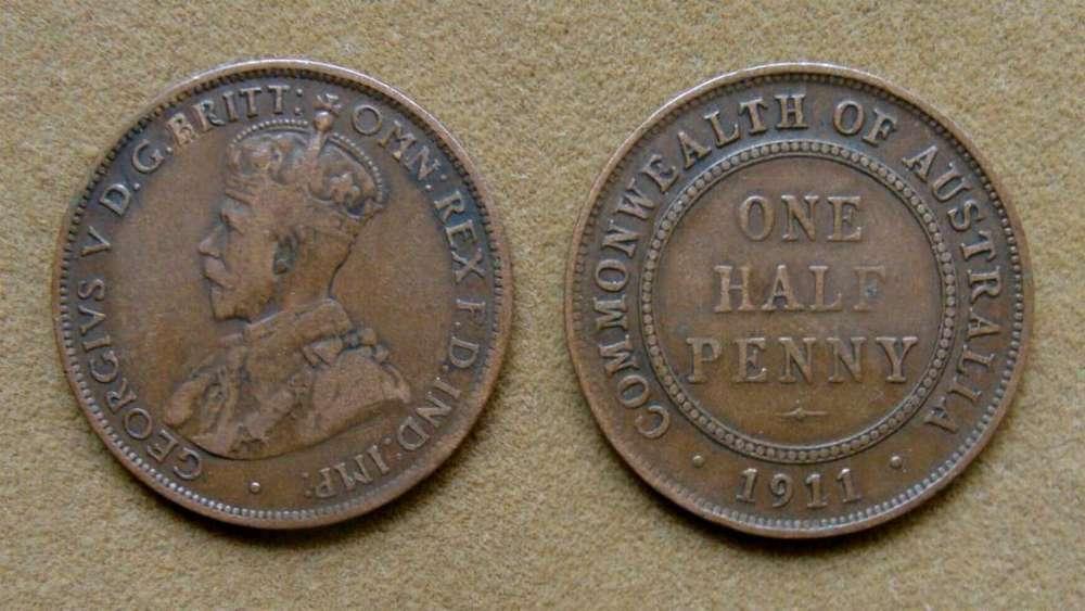 Moneda de 1/2 penique, Australia bajo Administración Británica 1911