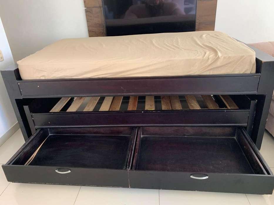 cama tarima duplex o nido con gavetas 1 colchon individual