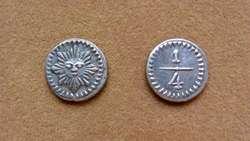 Moneda de ¼ de real de plata Pcia. de Córdoba, Argentina 1853
