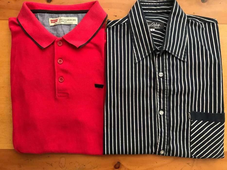 Dos Camisas de marca (1 Polo y 1 de vestir) Talla: L En muy buenas condiciones