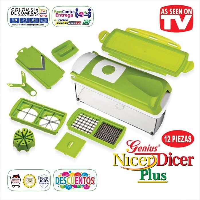 Nicer Dicer TV Plus Picador 12 Piezas Cortadora De Alimentos Genius , Nuevos, Originales, Garantizados...