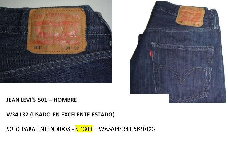PANTALON DE HOMBRE Jean LEVI'S 501 W34 L32
