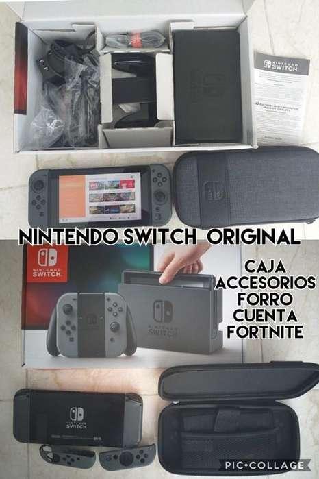 nintendo switch con forro caja cuenta y fortnite venta cambio PRECIO FIJO