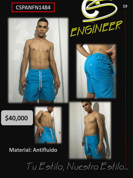 Pantaloneta en Tela Antifluido Color Azul