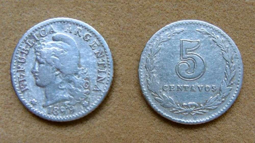 Moneda de 5 centavos Argentina 1899