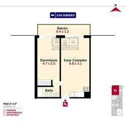 3 de Febrero y Riccheri - Dpto de 1 Dormitorio Externo. Cochera disponible. Vende Uno Propiedades