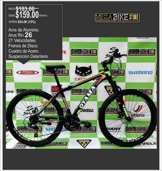 Bicicleta OYAMA aro 26 montañera, disco de freno, suspension, rin 26 ruta o montaña.