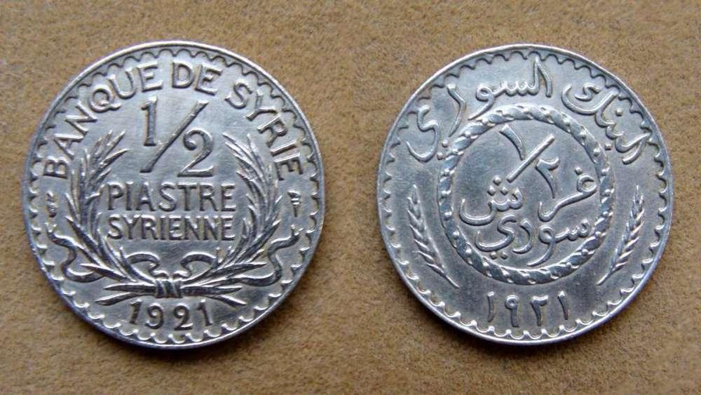 Moneda de ½ piastre Siria 1921