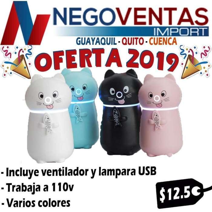 HUMIDIFICADOR PARA CASA TIPO GATITO HOGAR, OFICINA Y DORMITORIOS