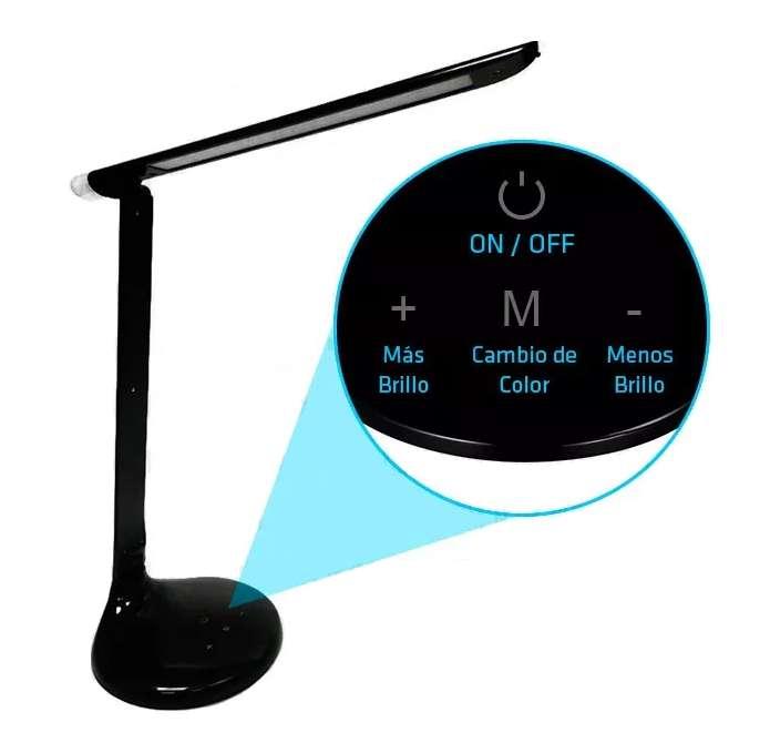 Lampara Velador De Escritorio Led 6w Tactil Dimerizable 3 Tonos de Luz