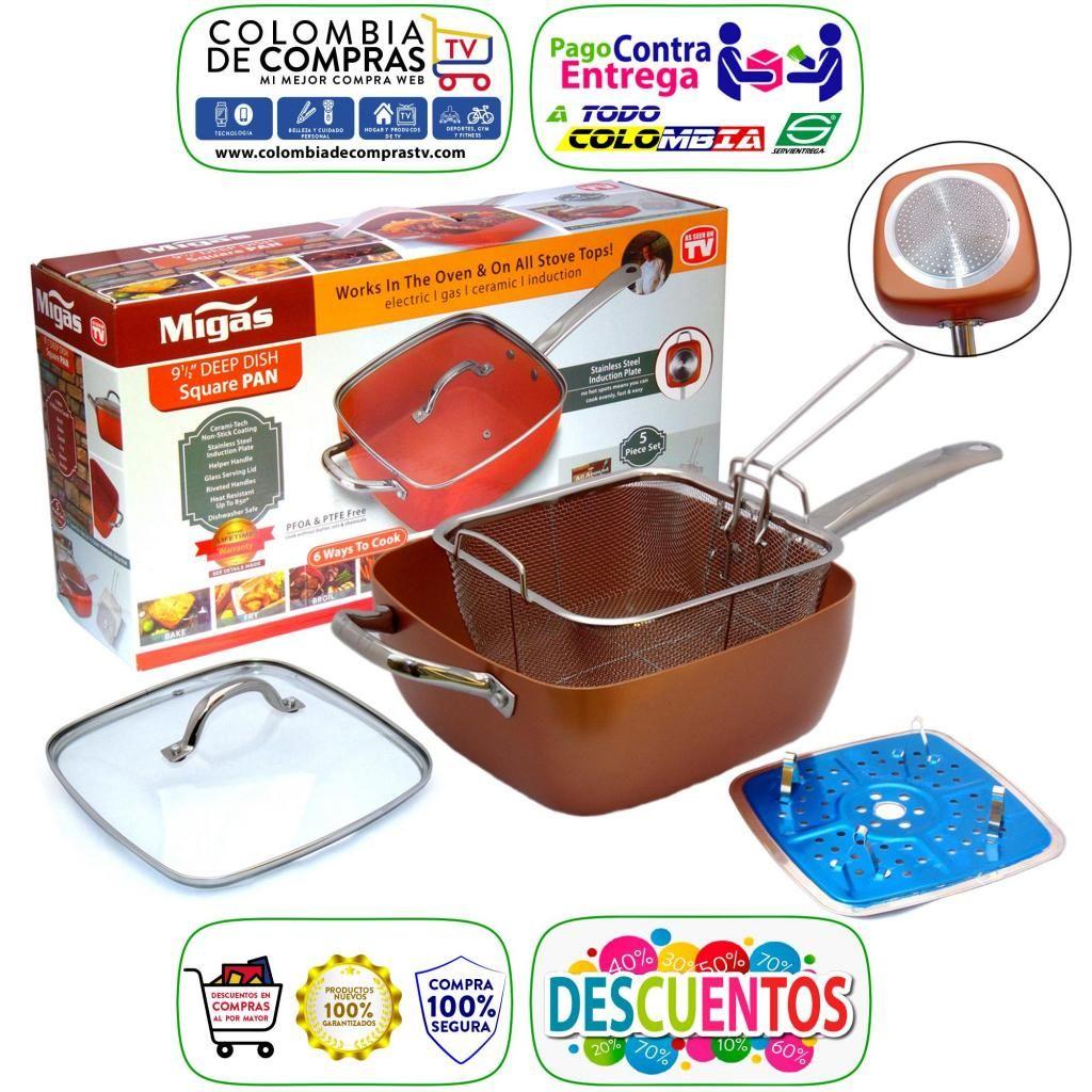 Sartén Tv 3 En 1 Freidor Copper Chef 24cm con Rejilla Nuevas, Originales, Garantizadas