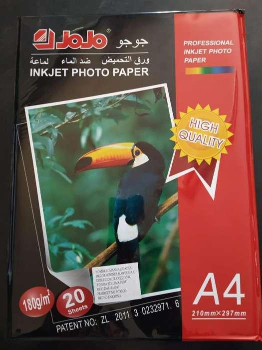PAPEL FOTOGRAFICO INKJET 180 GRAMOS A4 PARA TODO TIPO DE IMPRESORAS