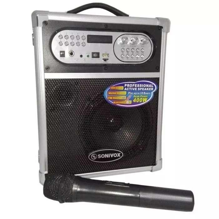 Cabina Sonivox 1455 De 400w Bluetooth Fm Microfono Karaoke