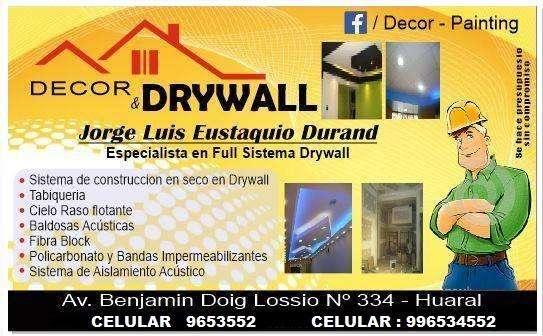 decor drywall especialista en full sistema drywallcontratos al 996534552