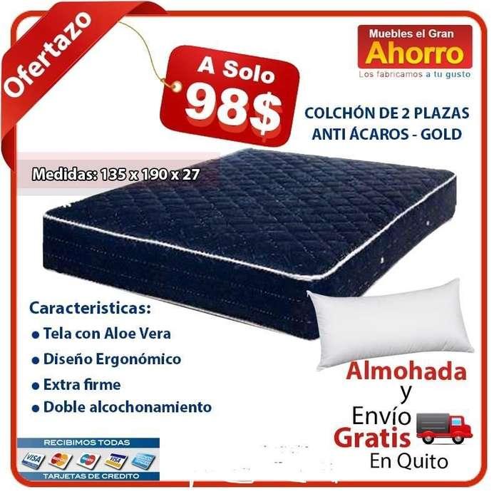 COLCHON 2 PLAZAS ANTI ACAROS POR SOLO 98 USD Gratis 2 Almohadas y Entrega Gratuita Quito DM