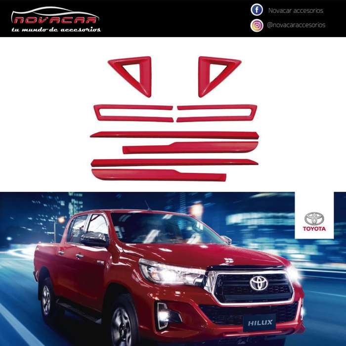 KIT ADHESIVO PARTE FRONTAL Y LATERAL P/ TOYOTA HILUX COLOR ROJO