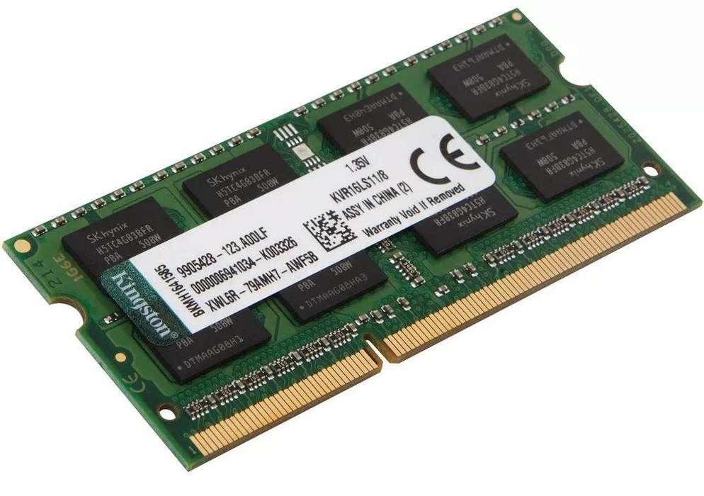 MEMORIA RAM KINGSTON KVR16LS11/8 8GB DDR3L PC3L/12800 1600MHz SO/DIMM PARA LAPTOP O NOTEBOOK