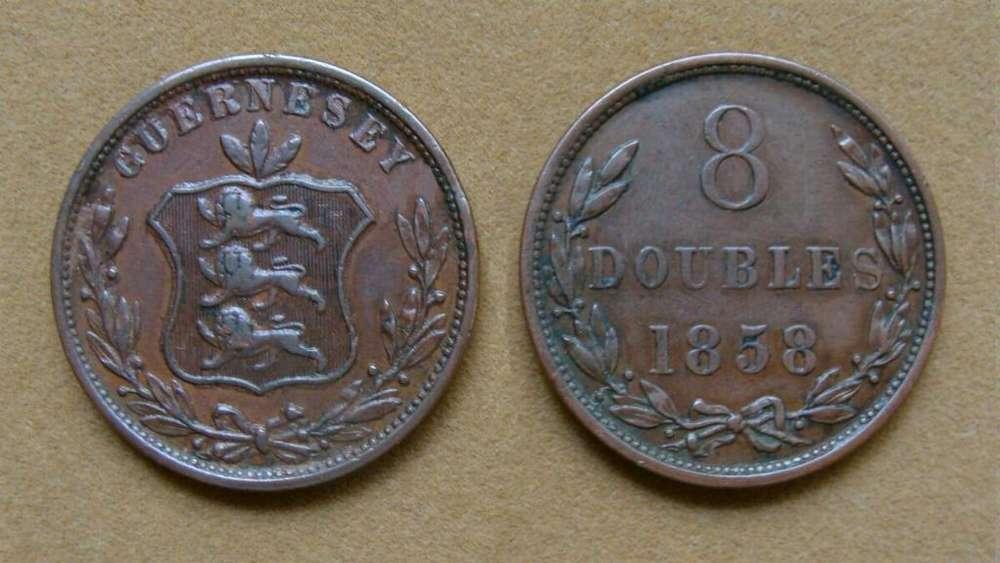Moneda de 8 doubles Isla de Guernsey 1858