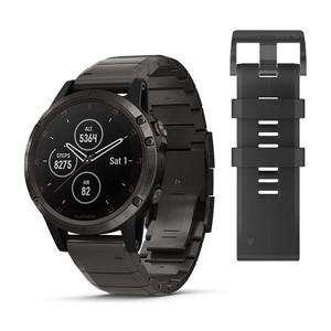 Reloj Garmin Fenix 5 Plus Zafiro, titanio gris y carbono amorfo con correa de titanio y carbono amorfo