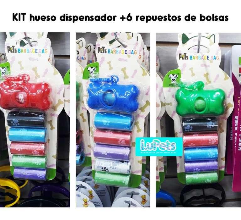 kit hueso dispensador 6 repuestos bolsas-mascota-<strong>perro</strong>
