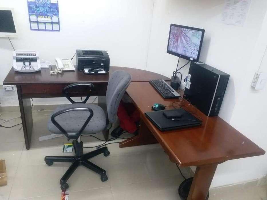 <strong>escritorio</strong> en madera en L para oficina o estudio