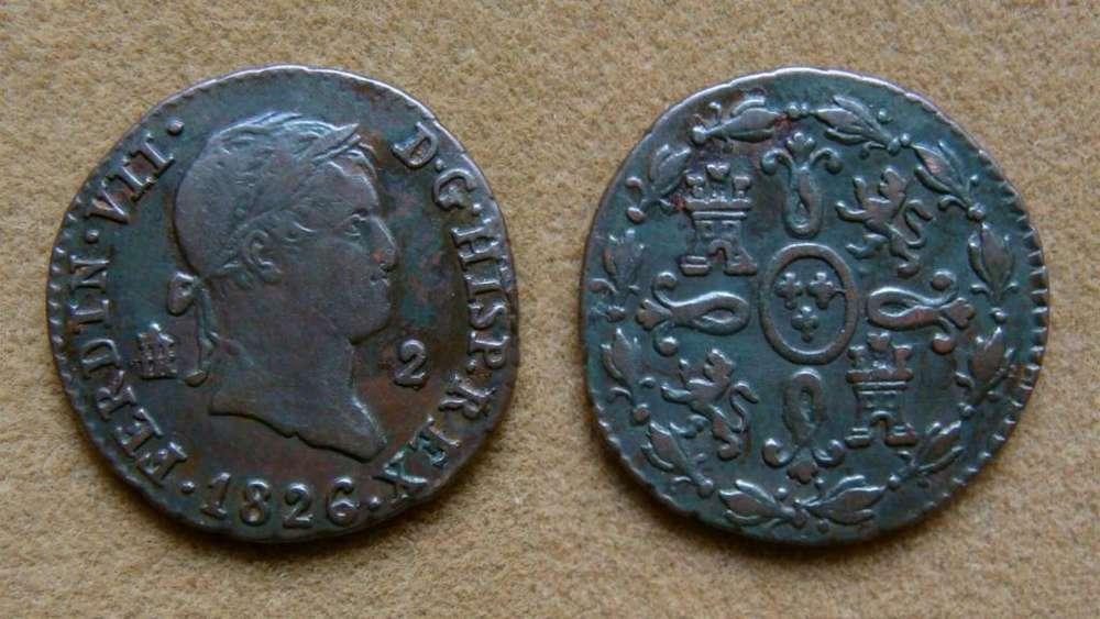 Moneda de 2 maravedíes, España 1826