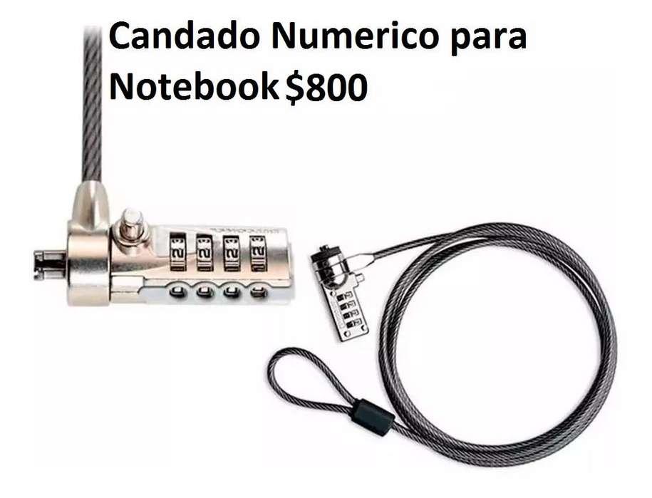 candado numerico para notebook, mouse pad, parlante, extension USB
