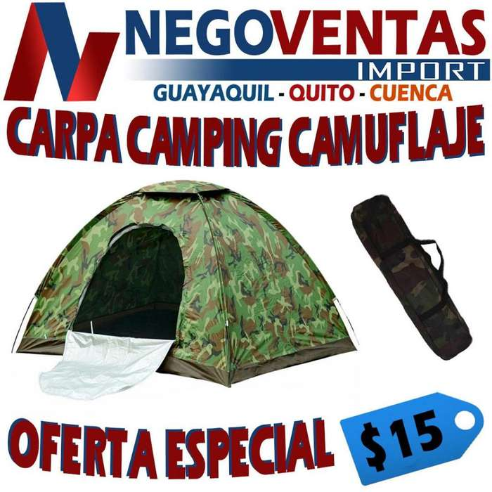 CARPA <strong>camping</strong> CAMUFLAJE IMPERMEABLE 2X2 CAPACIDAD 4 PERSONAS