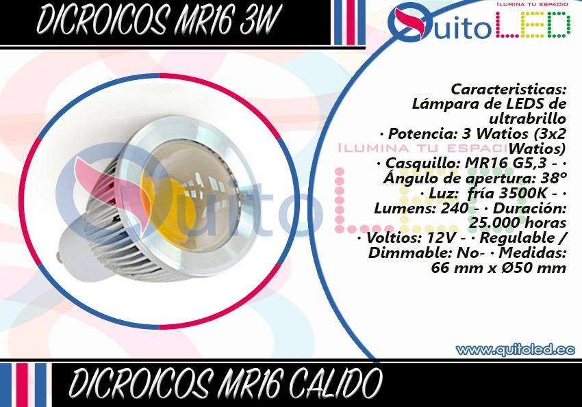 Dicroico Led 3w Luz Blanca Y Luz Calida