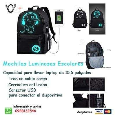 <strong>mochila</strong> LUMINOSAS CON PUERTO USB
