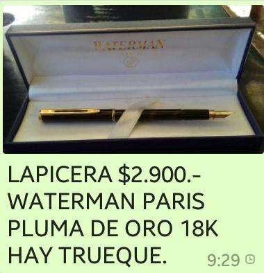 LAPICERA WATERMAN PARIS ORIGINAL PLUMA DE ORO 18 K. 750 – SELLADA