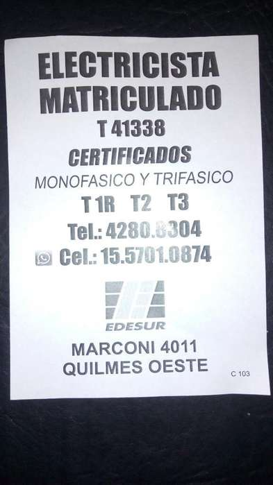 Certificado para Edesur