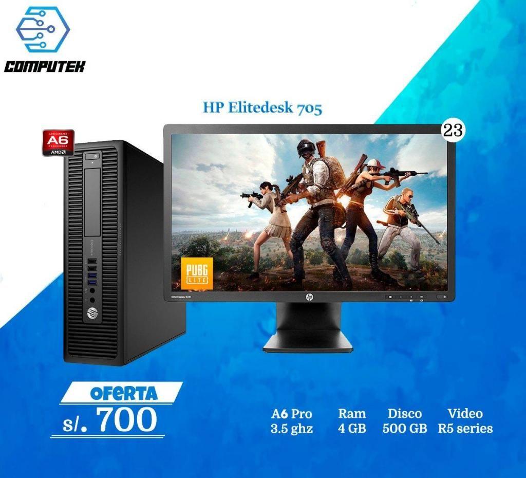 HP Elitedesk 750 G1 - AMD A6, Ram 4gb, Hdd 500Gb, Video R5  Monitor 23