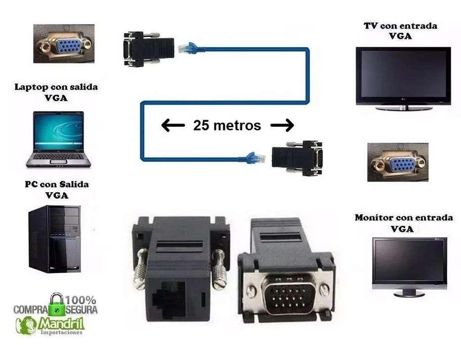 Adaptador Extensión Vga Por Cable Red Utp Rj45 25 Metros Pc Laptop