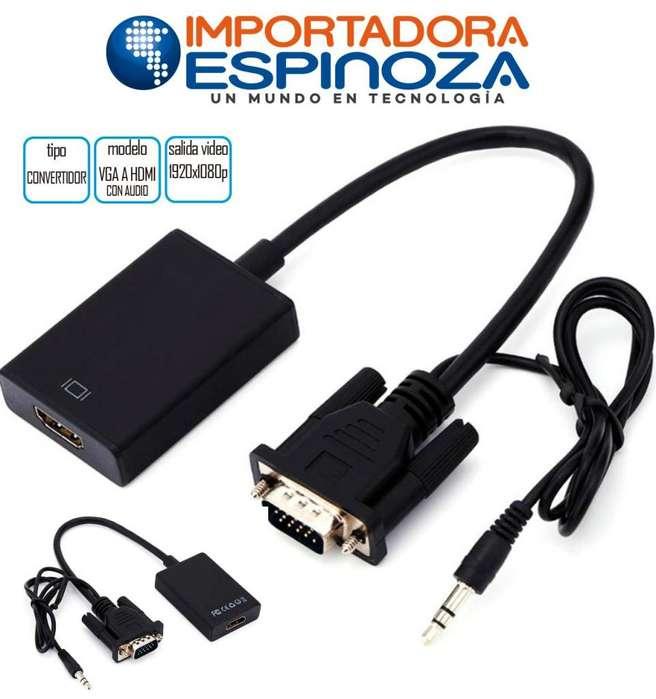 Convertidor Adaptador Vga A Hdmi Con Audio Compatible 1080