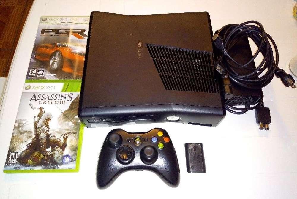 Xbox 360 Slim 4GB original sin chip, Control, 2 Juegos originales, Hdmi, semi nuevo